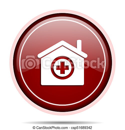 Hospital red glossy round web icon. Circle isolated internet button for webdesign and smartphone applications. - csp51689342