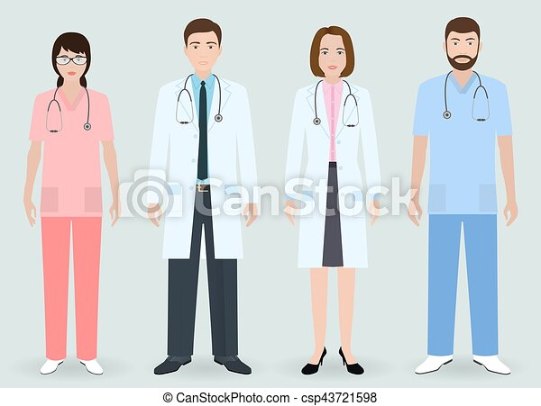 Hospital staff concept. group of man and woman doctors, nurse ...