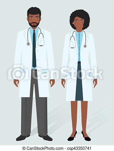 Hospital Staff Concept Man And Woman African American Doctors In