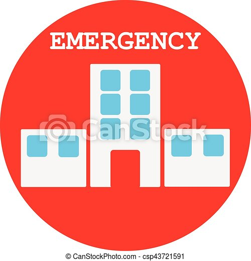 Hospital Symbol In Red Ring On White Background Vector Illustration