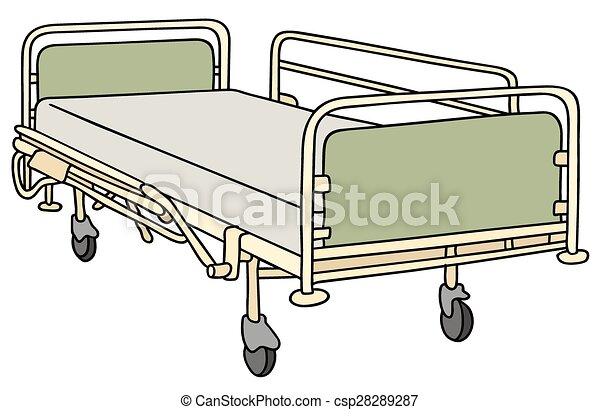 Hand Drawing Of An Old Metal Hospital Bed