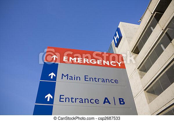 hospitalet, moderne, nødsituation underskriv - csp2687533
