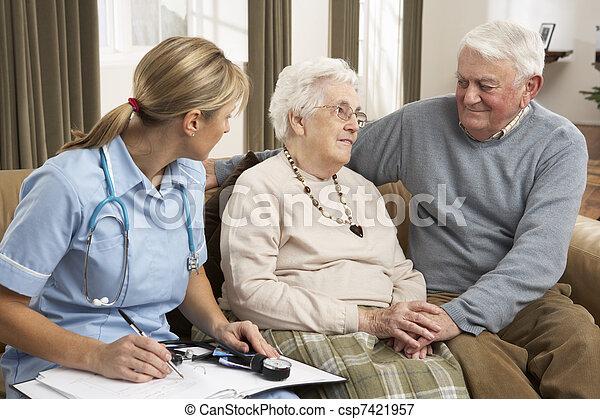 host, dvojice, zdraví, domů, starší, debata - csp7421957