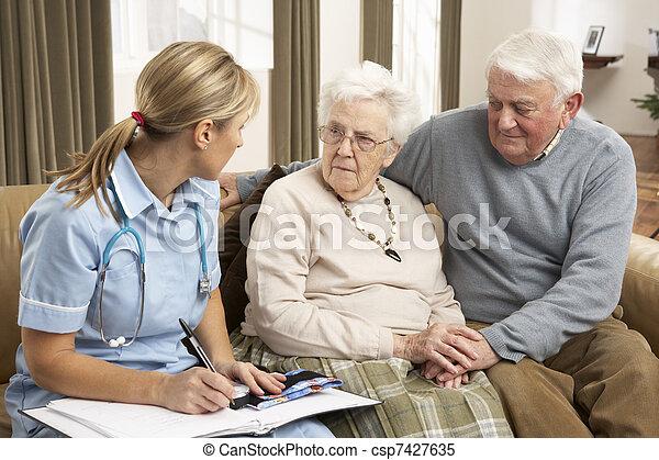 host, dvojice, zdraví, domů, starší, debata - csp7427635