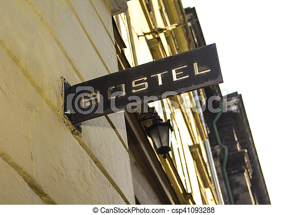 Hostel sign in Lviv - csp41093288