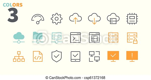 Hosting Pixel Perfect Well-crafted Vector Thin Line Icons 48x48 Ready for 24x24 Grid for Web Graphics and Apps with Editable Stroke. Simple Minimal Pictogram Part 1 - csp61372168
