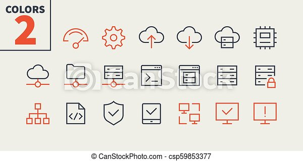 Hosting Pixel Perfect Well-crafted Vector Thin Line Icons 48x48 Ready for 24x24 Grid for Web Graphics and Apps with Editable Stroke. Simple Minimal Pictogram Part 1 - csp59853377