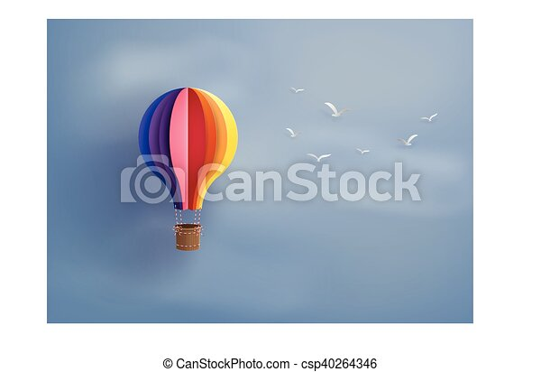 Origami Made Colorful Hot Air Balloon Stock Vector (Royalty Free ... | 314x450