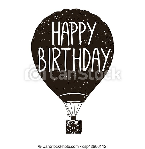 Hot Air Balloon Birthday Card Vector Illustration Isolated On White