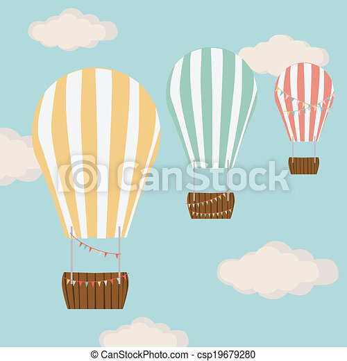 Hot air balloon in blue with clouds - csp19679280