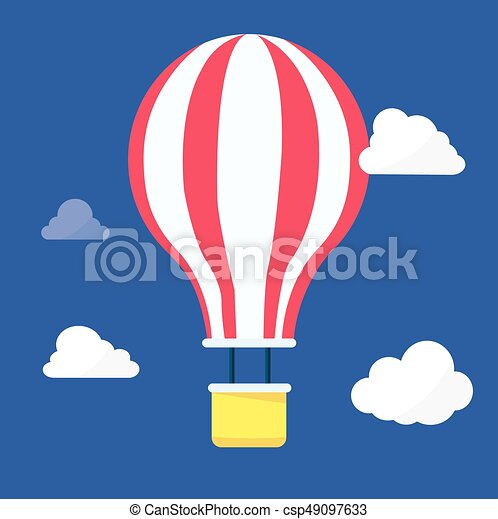 Hot Air balloon in the night sky with clouds vector. - csp49097633