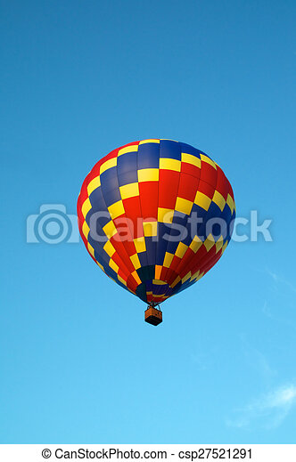 Hot Air Balloon Of Primary Colors Flying In Sky Stock Illustration