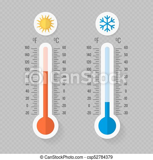 Hot and cold meteorology thermometers on transparent background - csp52784379
