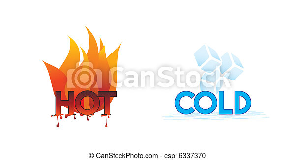 Hot and cold or fire and ice icons; climate symbol icon.