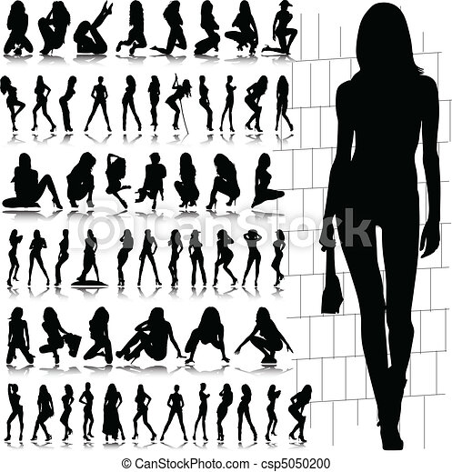 hot and sexy girl vector silhouette - csp5050200
