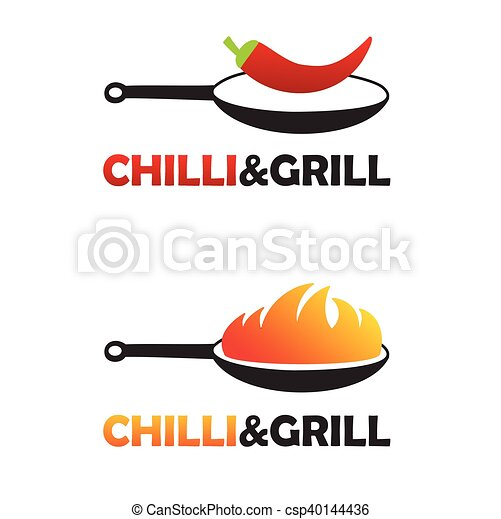 Hot And Spicy Chinese Food Logo Set With Two Black Pans Pan With Fire And Pan With Chili Pepper