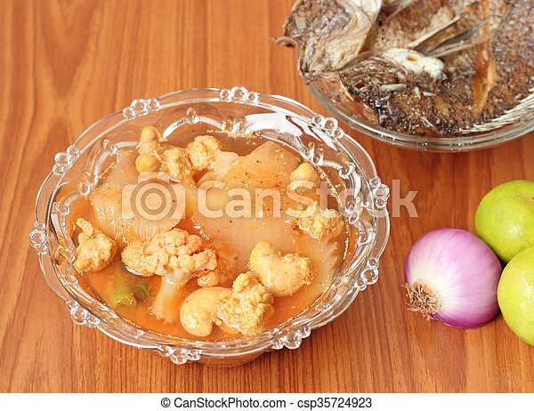 Hot and Spicy Curry of Water orange with fish - csp35724923