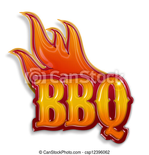 hot barbecue label isolated on white background - csp12396062