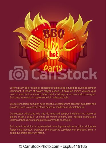 Hot Bbq Grill Party Leaflet Fork, Paddle, Spatula - csp65119185