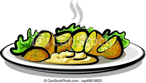 hot boiled potatoes - csp46819825