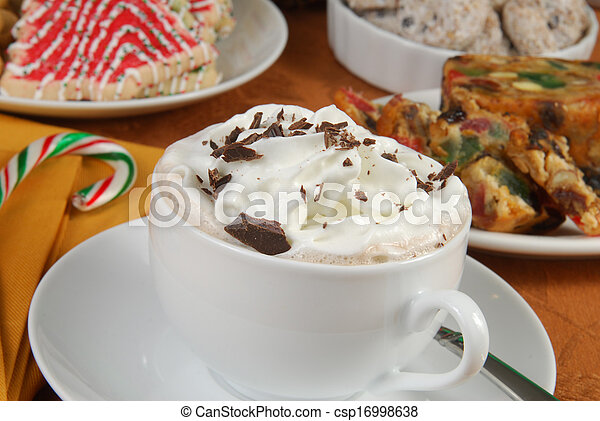 Hot chocolate and Christmas desserts - csp16998638
