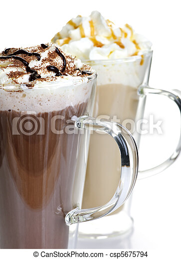 Hot chocolate and coffee beverages - csp5675794