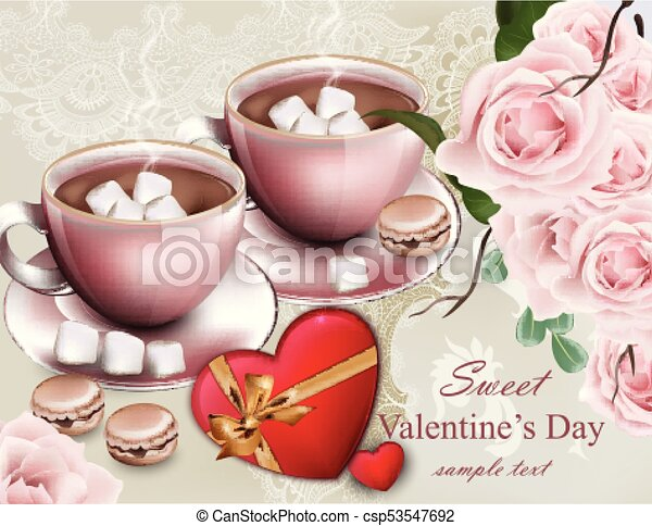 Hot chocolate cups Valentine day card. Delicate composition flower bouquet Vector - csp53547692