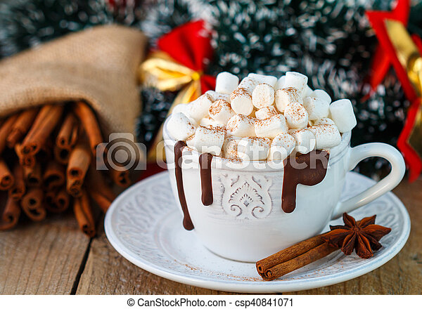 hot chocolate with marshmallows in a white cup christmas new year soft focus - Christmas Marshmallows