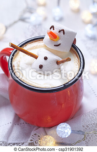 Hot chocolate with melted snowman - csp31901392