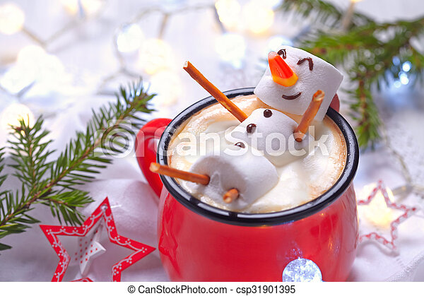 Hot chocolate with melted snowman - csp31901395