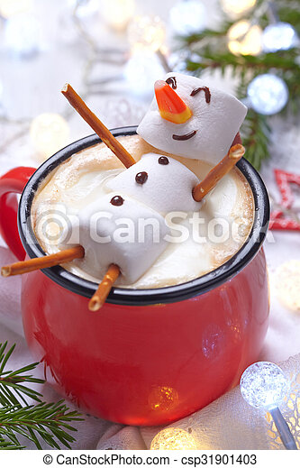 Hot chocolate with melted snowman - csp31901403