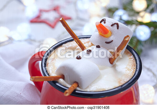 Hot chocolate with melted snowman - csp31901408