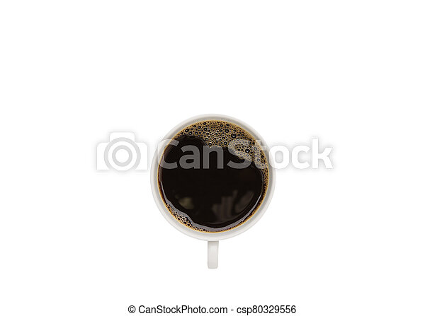 Hot coffee cup isolated on white background - csp80329556