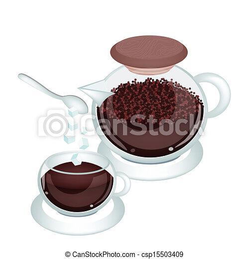 Hot coffee with coffee powder in jar. Coffee time, three ...