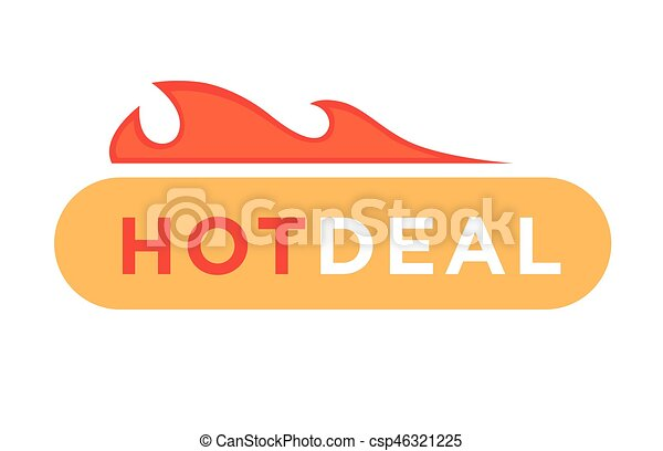Hot deal discount price vector icon with fire flame design. Hot deal ...