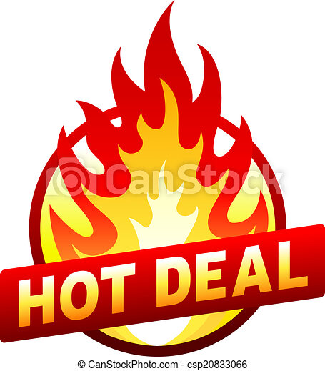 Hot deal fire badge, price sticker, flame - csp20833066