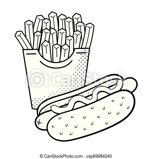 Hot Dog And French Fries Black And White Hot Dog And French Fries Icon Cartoon Black And White Vector Illustration Graphic