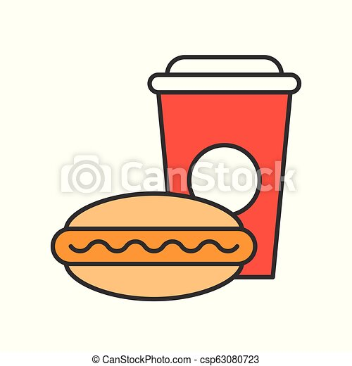 hot dog and soft drink, food and gastronomy set, filled outline icon - csp63080723