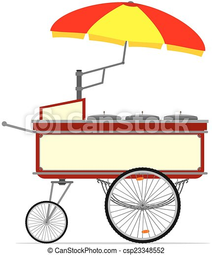 cartoon hot dog cart vector without gradients clipart vector rh canstockphoto com