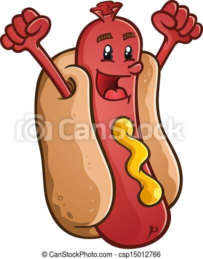Hot Dog Cartoon Character Celebrati - csp15012766