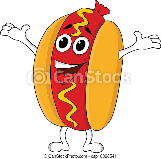 Hot dog cartoon character - csp10328541