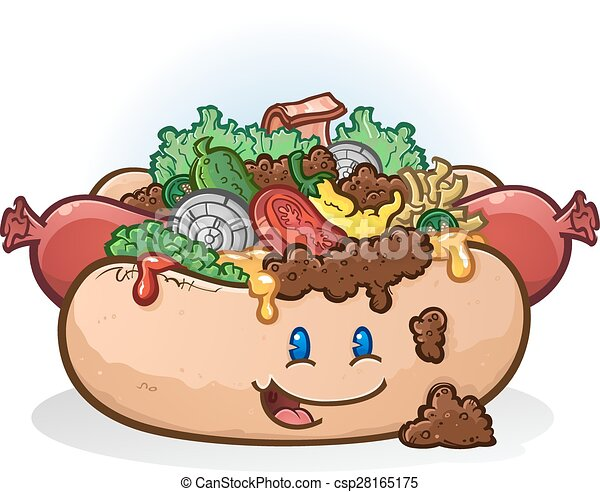 Hot Dog Cartoon Character - csp28165175