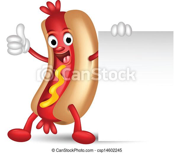 hot dog cartoon holding blank sign - csp14602245