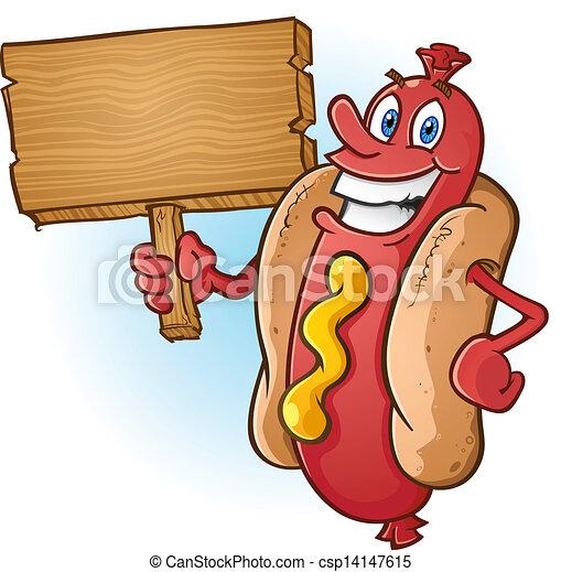 Hot Dog Cartoon Holding Wood Sign - csp14147615