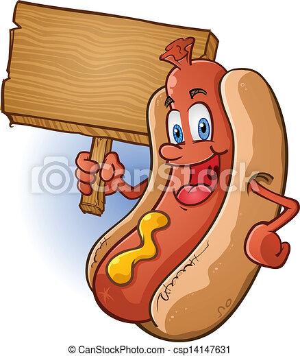 Hot Dog Cartoon Holding Wooden Sign - csp14147631