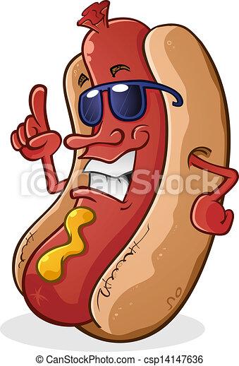 Hot Dog Cartoon Wearing Sunglasses - csp14147636