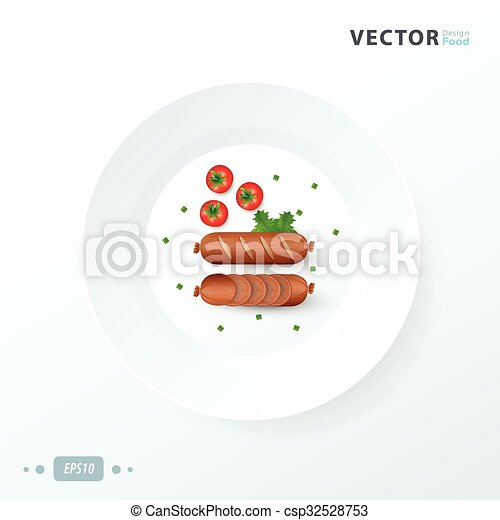 hot dog  on white dish - csp32528753