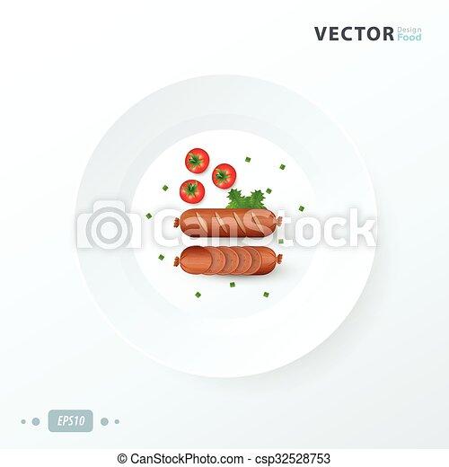 hot dog  on white dish - csp32528753