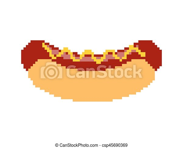 Hot Dog Pixel Art Fastfood Pixelated Fast Food Isolated