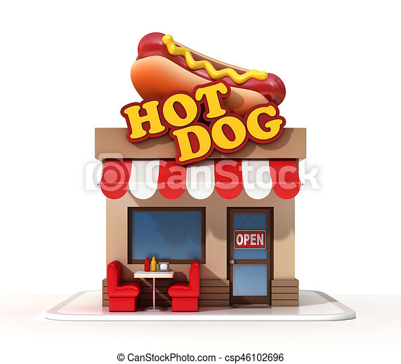 hot dog restaurant 3d rendering isolated illustration. Black Bedroom Furniture Sets. Home Design Ideas